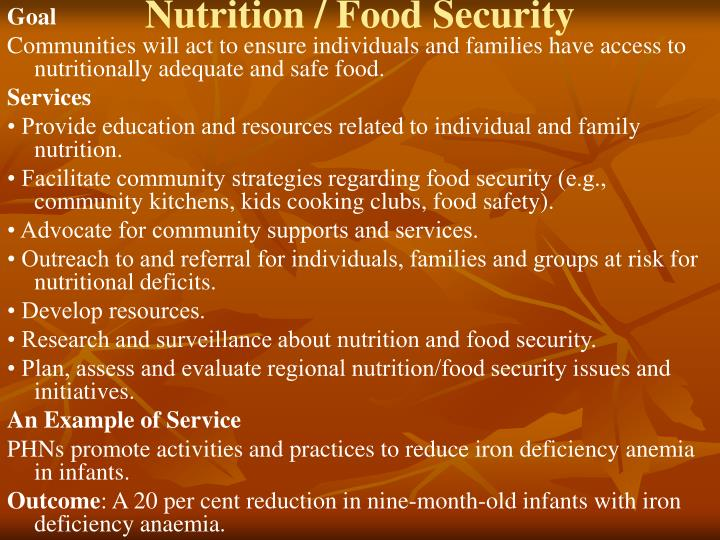 Nutrition / Food Security