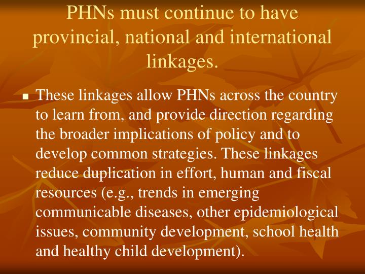 PHNs must continue to have provincial, national and international linkages.