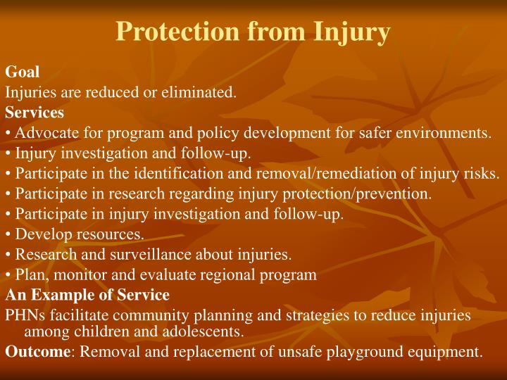 Protection from Injury