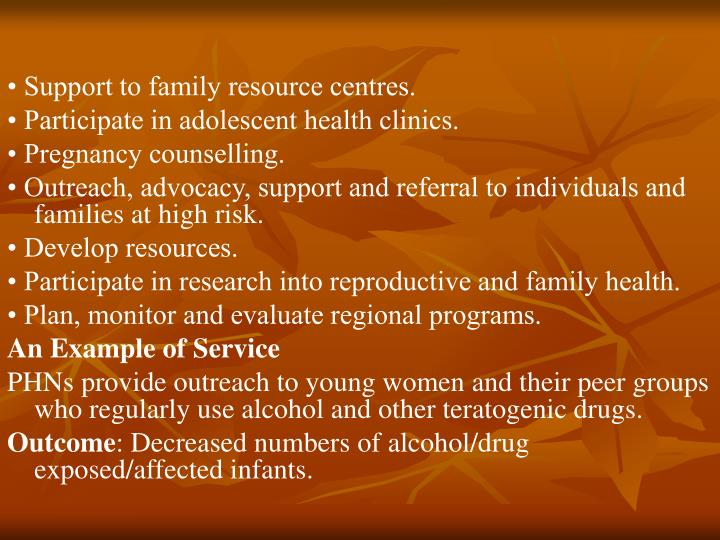 • Support to family resource centres.