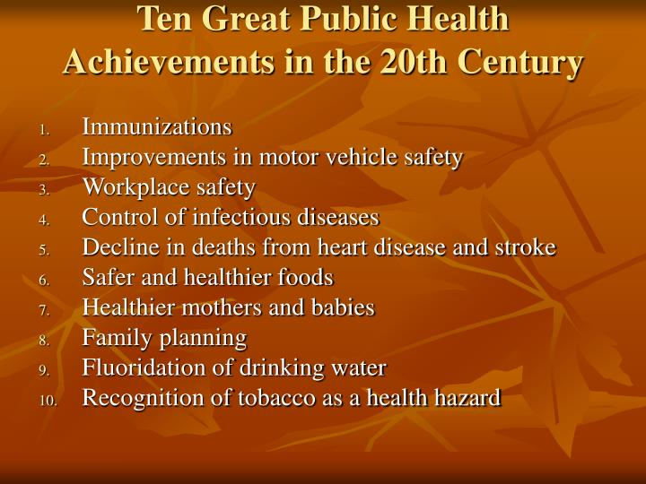 Ten Great Public Health Achievements in the 20th Century