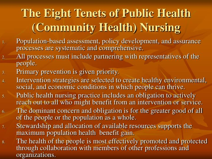 The Eight Tenets of Public Health (Community Health) Nursing