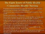 the eight tenets of public health community health nursing