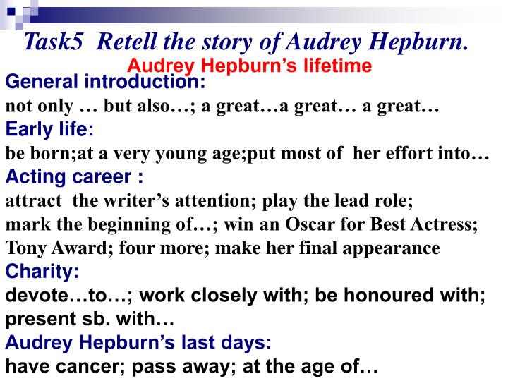 Task5  Retell the story of Audrey Hepburn.