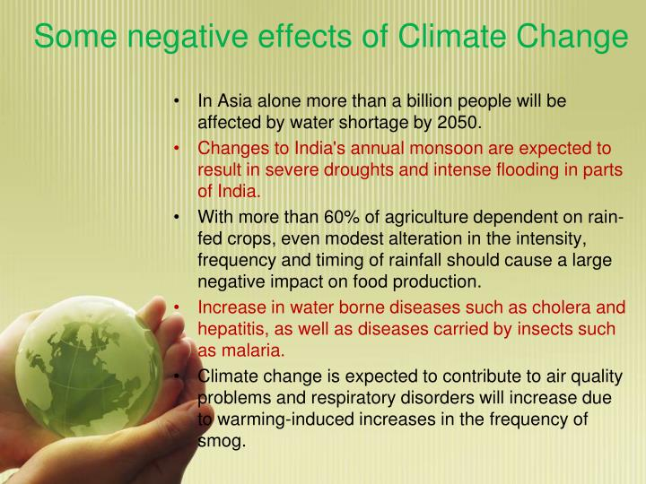 Some negative effects of Climate Change