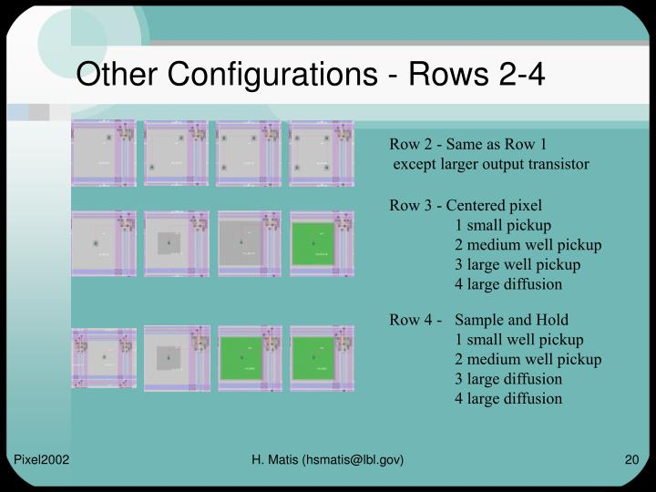 Other Configurations - Rows 2-4