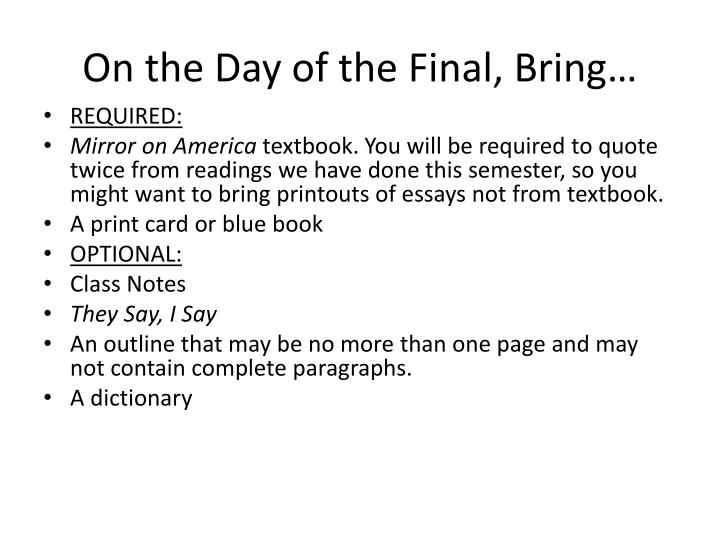 On the Day of the Final, Bring…