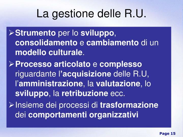 La gestione delle R.U.