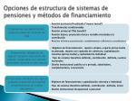 opciones de estructura de sistemas de pensiones y m todos de financiamiento