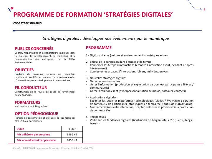 Programme de formation 'stratégies digitales'