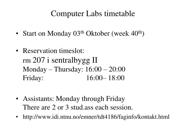 Computer Labs timetable