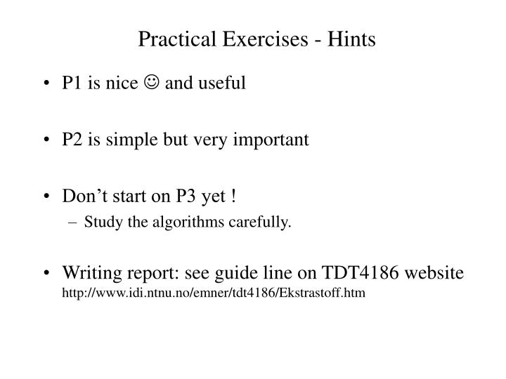 Practical Exercises - Hints