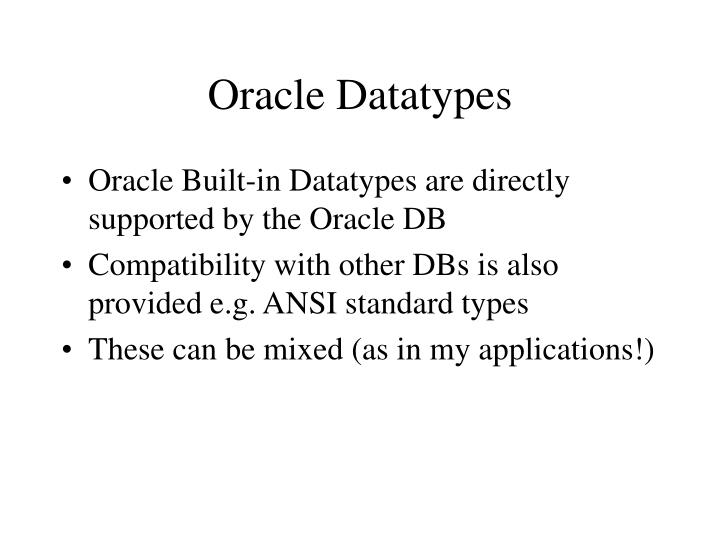 Oracle Datatypes