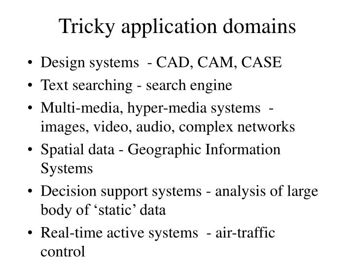 Tricky application domains