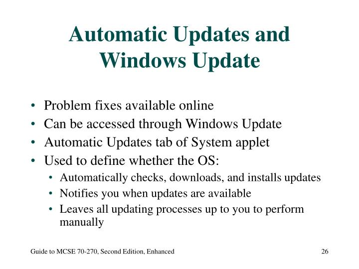 Automatic Updates and Windows Update