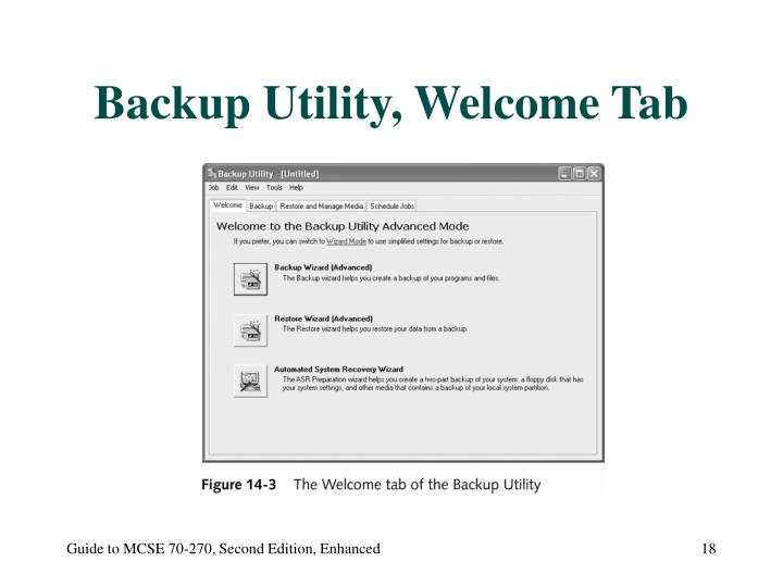 Backup Utility, Welcome Tab