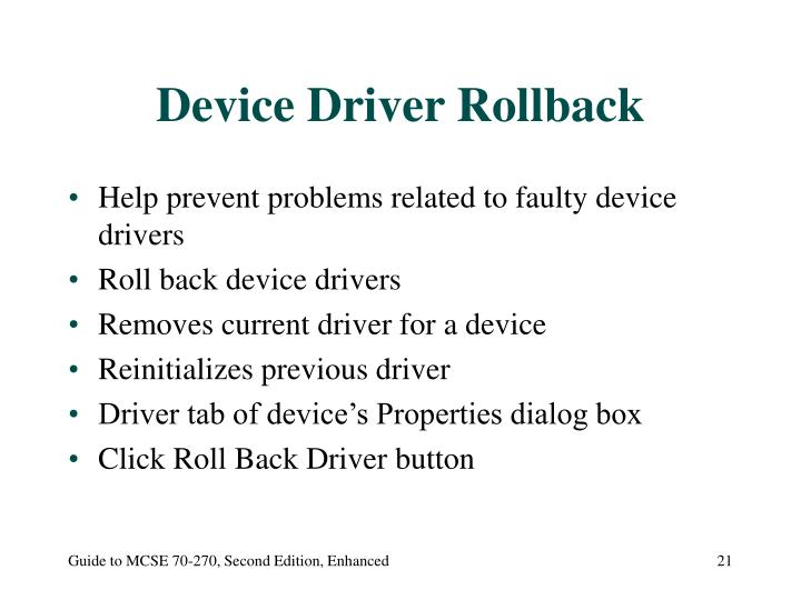 Device Driver Rollback