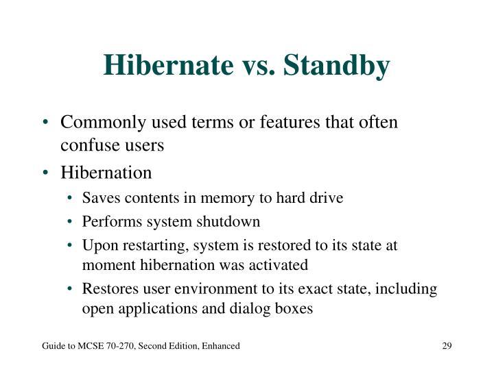 Hibernate vs. Standby