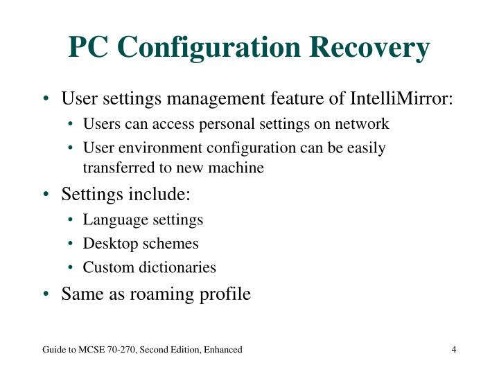 PC Configuration Recovery