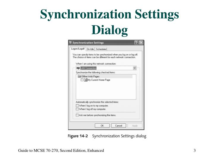 Synchronization Settings Dialog