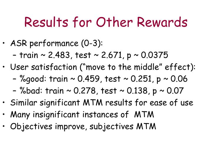 Results for Other Rewards