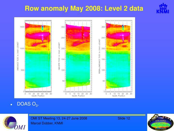 Row anomaly May 2008: Level 2 data