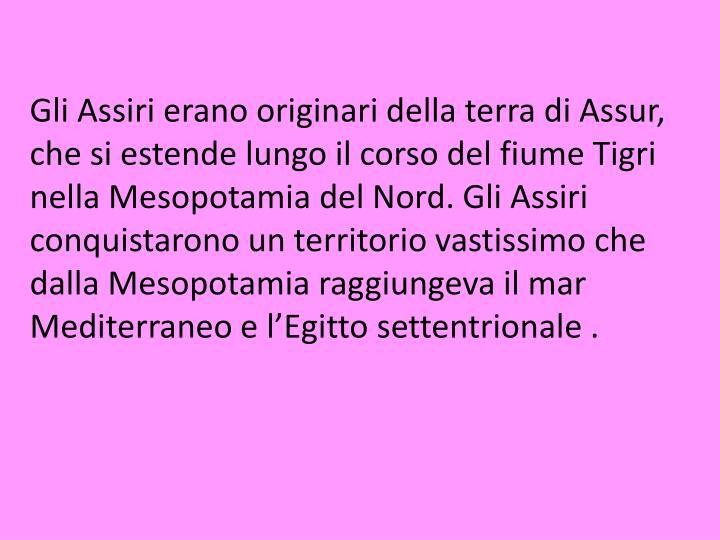Gli Assiri erano originari della terra di Assur, che si estende lungo il corso del fiume Tigri nella Mesopotamia del Nord. Gli Assiri conquistarono un territorio vastissimo che dalla Mesopotamia raggiungeva il mar Mediterraneo e l'Egitto settentrionale .