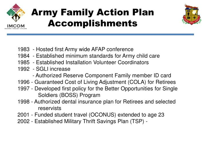 Army family action plan accomplishments