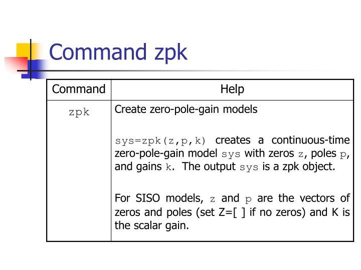 Command zpk
