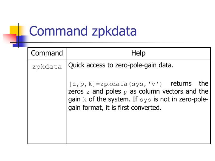 Command zpkdata