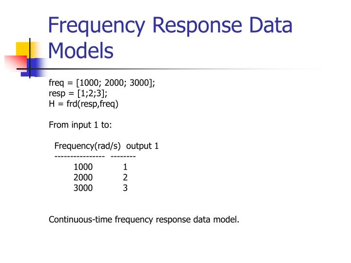 Frequency Response Data Models