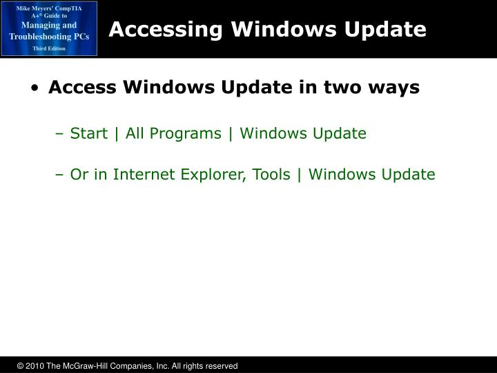 Accessing Windows Update