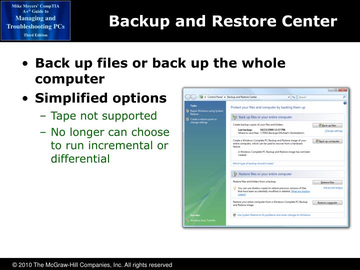 Backup and Restore Center