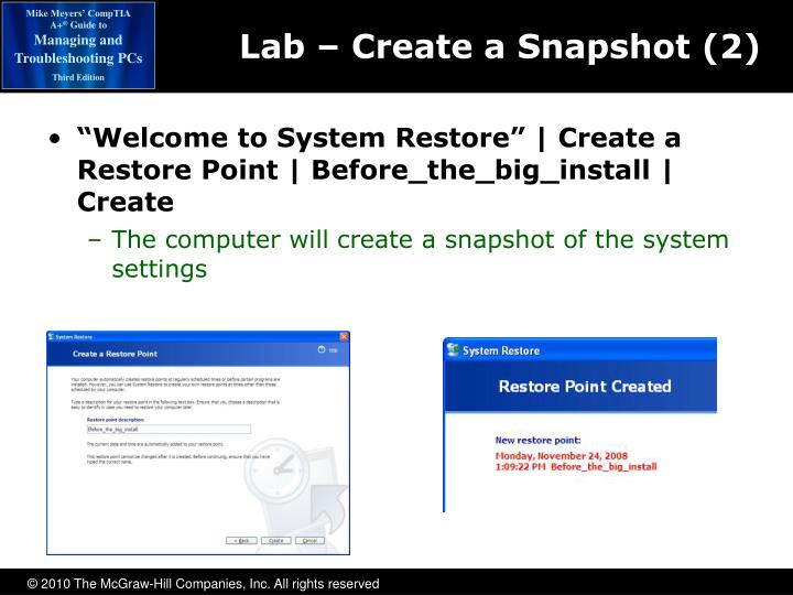 Lab – Create a Snapshot (2)