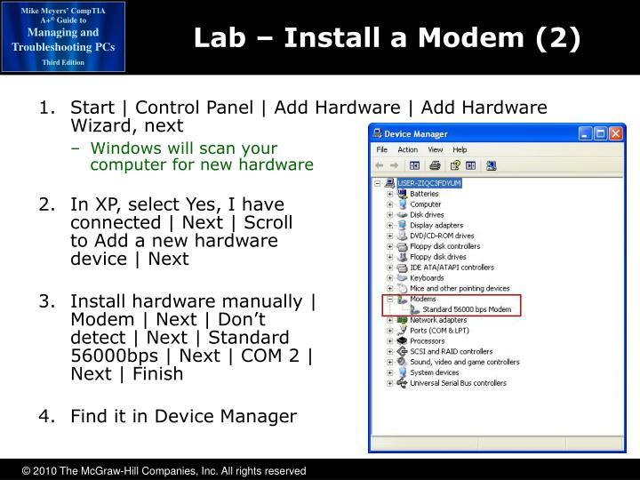 Lab – Install a Modem (2)