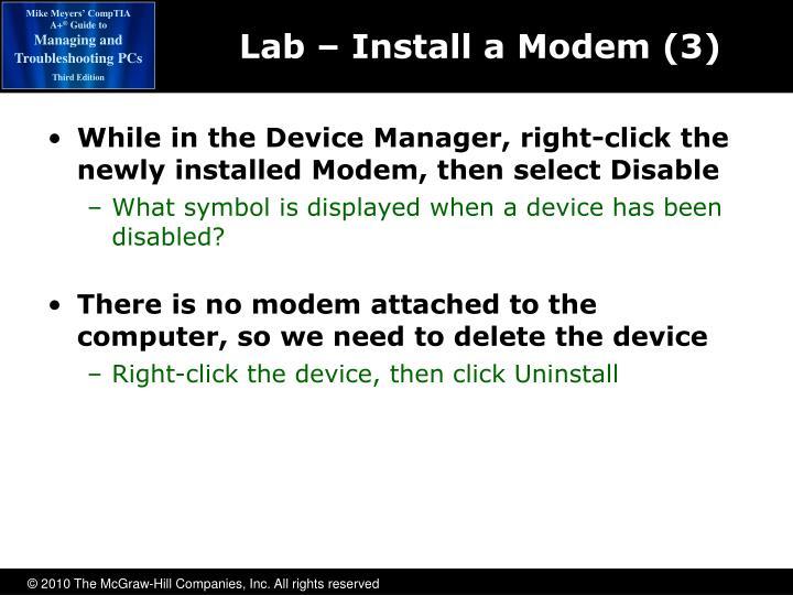 Lab – Install a Modem (3)