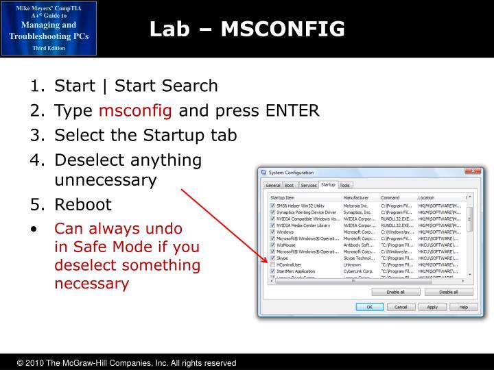 Lab– MSCONFIG
