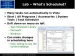 lab what s scheduled