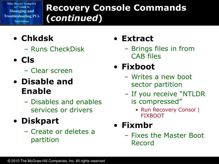 Recovery Console Commands (