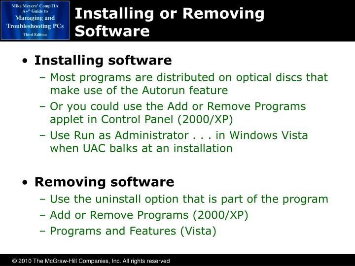 Installing or Removing Software
