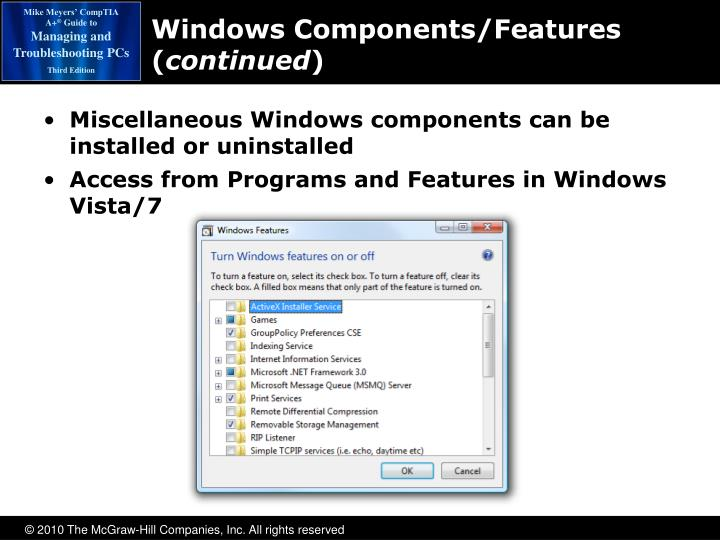 Windows Components/Features (