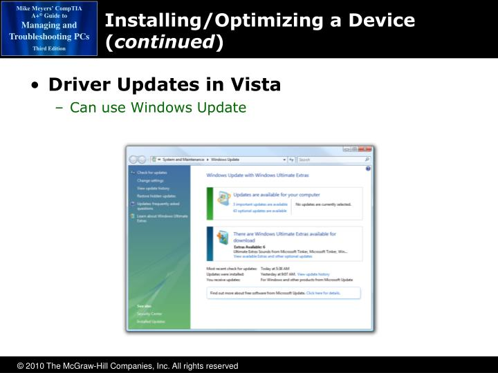 Installing/Optimizing a Device (