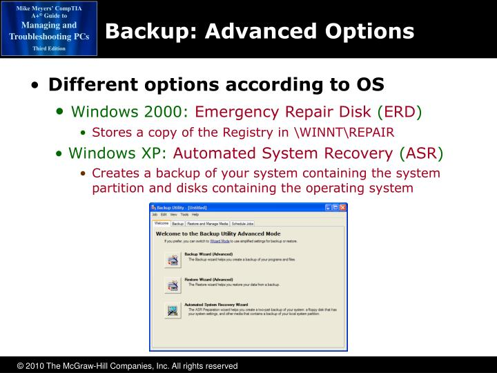 Backup: Advanced Options