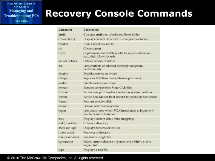 Recovery Console Commands