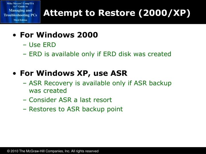 Attempt to Restore (2000/XP)