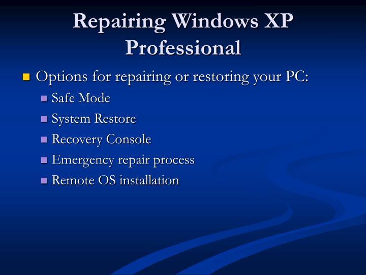 Repairing Windows XP Professional