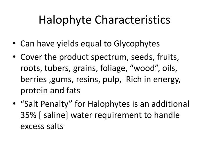 Halophyte Characteristics