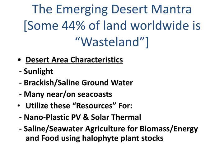 The Emerging Desert Mantra