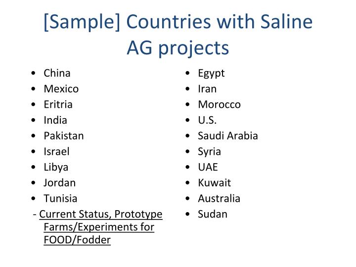 [Sample] Countries with Saline AG projects
