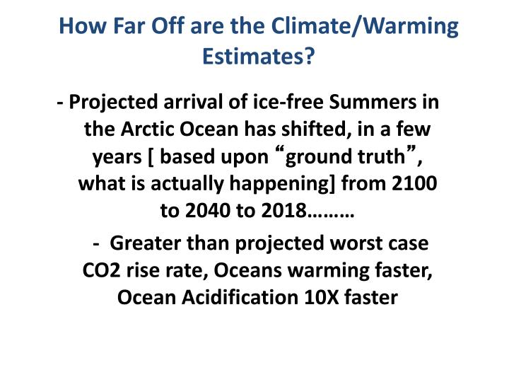 How Far Off are the Climate/Warming Estimates?